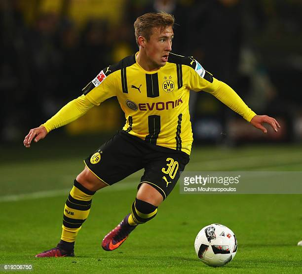 Felix Passlack of Borussia Dortmund in action during the Bundesliga match between Borussia Dortmund and FC Schalke 04 at Signal Iduna Park on October...