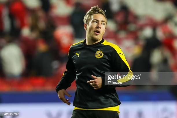 Felix Passlack of Borussia Dortmund looks on before the UEFA Champions League Round of 16 First Leg match between SL Benfica and Borussia Dortmund at...