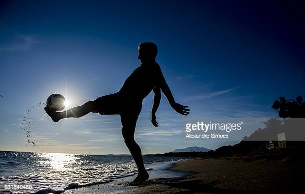 Felix Passlack of Borussia Dortmund plays football on the beach during a training camp on January 11 2017 in Marbella Spain