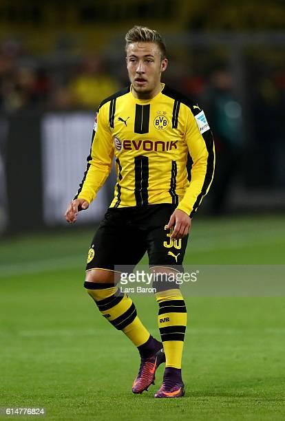 Felix Passlack of Borussia Dortmund runs with the ball during the Bundesliga match between Borussia Dortmund and Hertha BSC at Signal Iduna Park on...
