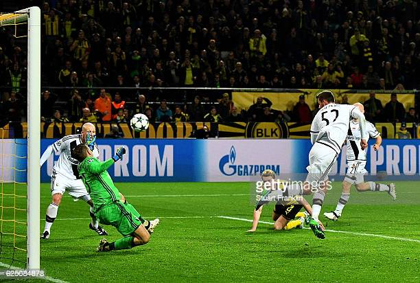 Felix Passlack of Borussia Dortmund scores his teams seventh goal during the UEFA Champions League Group F match between Borussia Dortmund and Legia...