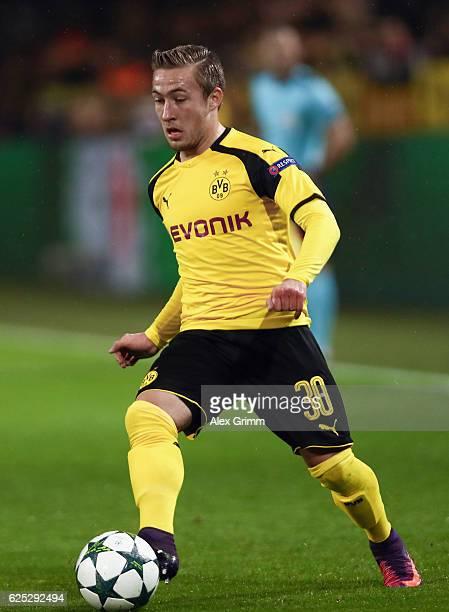 Felix Passlack of Dortmund controles the ball during the UEFA Champions League match between Borussia Dortmund and Legia Warszawa at Signal Iduna...
