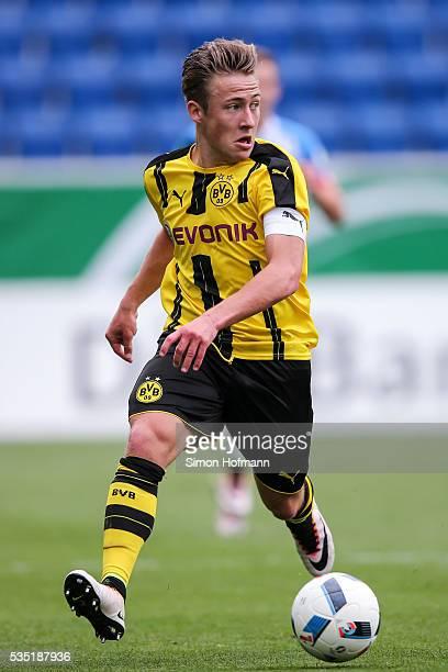Felix Passlack of Dortmund controls the ball during the A Juniors German Championship Final match between 1899 Hoffenheim U19 and Borussia Dortmund...