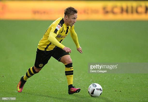 Felix Passlack of Dortmund in action during the friendly match between AFC Sunderland v Borussia Dortmund at Cashpoint Arena on August 5 2016 in...
