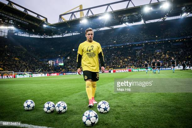 Felix Passlack of Dortmund is seen prior the UEFA Champions League Quarter Final first leg match between Borussia Dortmund and AS Monaco at Signal...