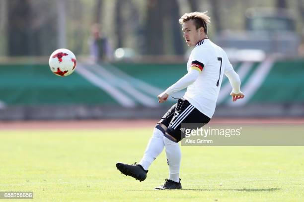 Felix Passlack of Germany controles the ball during the UEFA Elite Round match between U19 Germany and U19 Serbia at Sportpark on March 25 2017 in...