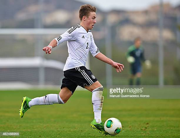 Felix Passlack of Germany runs with the ball during the friendly match between U18 Valencia CF and U16 Germany at la Manga Club on January 13 2014 in...