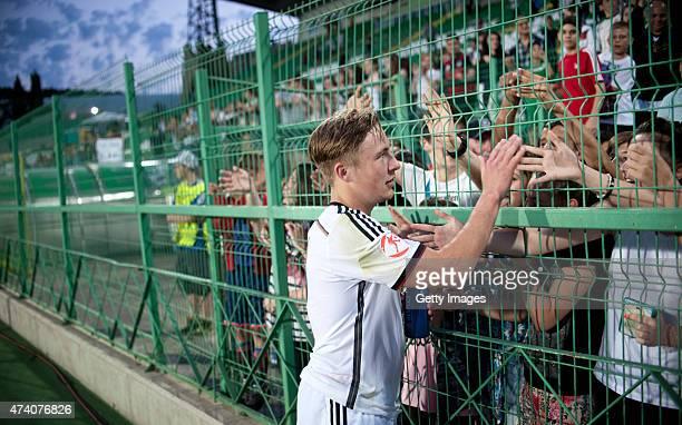 Felix Passlack of Germany U17 cheers fans after the UEFA European Under17 Championship Semi Final match between Germany U17 and Russia U17 at Beroe...