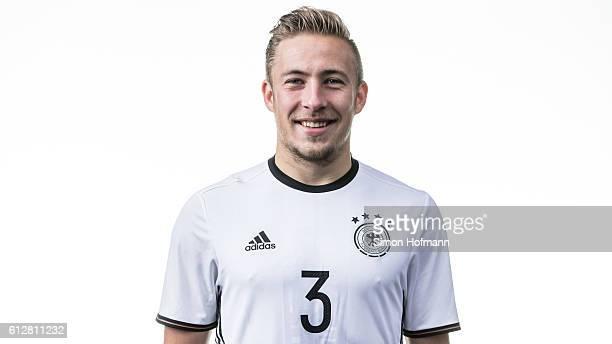 Felix Passlack poses during Germany U19 Team Presentation at CommerzbankArena on October 3 2016 in Frankfurt am Main Germany