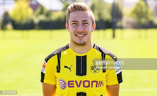 Felix Passlack poses during the team presentation of Borussia Dortmund on August 17 2016 in Dortmund Germany