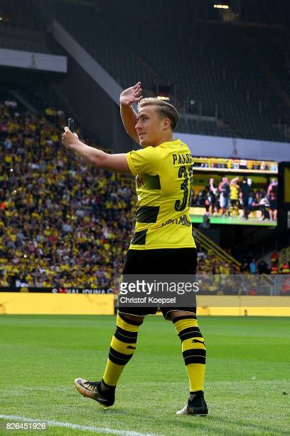 Felix Passlack welcomes the fans during the Borussia Dortmund Season Opening 2017/18 at Signal Iduna Park on August 4 2017 in Dortmund Germany