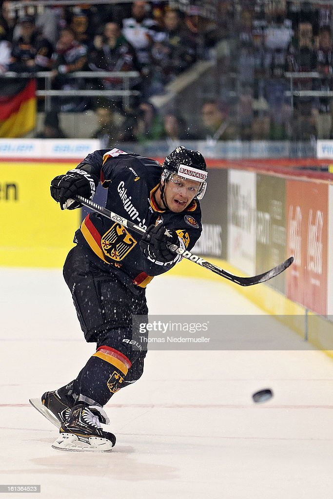 <a gi-track='captionPersonalityLinkClicked' href=/galleries/search?phrase=Felix+Petermann&family=editorial&specificpeople=852940 ng-click='$event.stopPropagation()'>Felix Petermann</a> of Germany in action during the Olympic Icehockey Qualifier match between Germany and Austria on February 10, 2013 in Bietigheim-Bissingen, Germany.