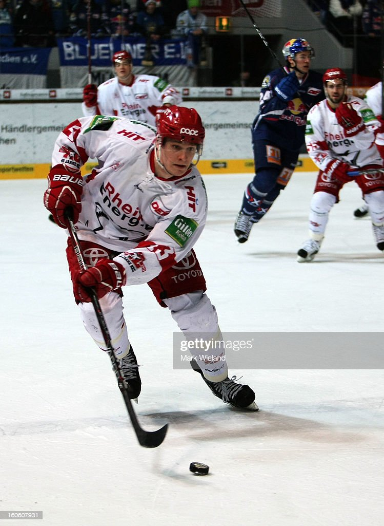 <a gi-track='captionPersonalityLinkClicked' href=/galleries/search?phrase=Felix+Petermann&family=editorial&specificpeople=852940 ng-click='$event.stopPropagation()'>Felix Petermann</a> of Koelner Haie in action during the DEL match between EHC Muenchen and Koelner Haie at Olympia Eishalle on February 3, 2013 in Munich, Germany.
