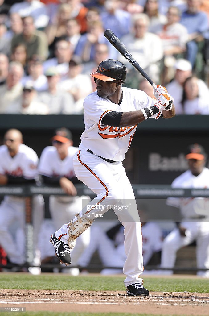 Felix Pie #18 of the Baltimore Orioles bats against the Detroit Tigers on opening day April 4, 2011 at Camden Yards in Baltimore, Maryland.