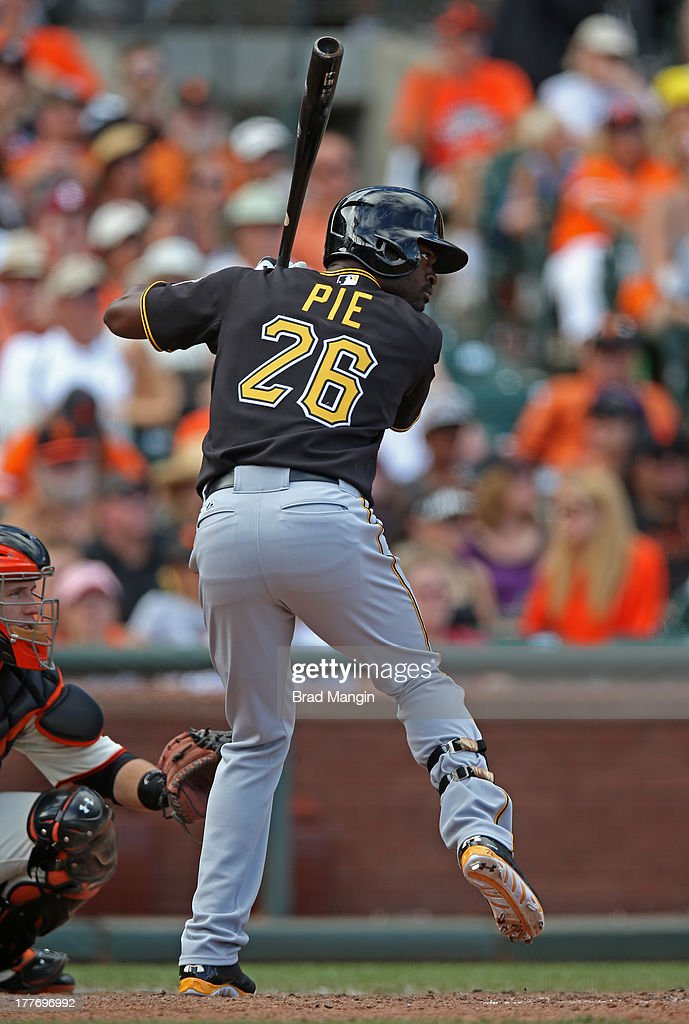 Felix Pie #26 of the Pittsburgh Pirates bats during the game against the San Francisco Giants at AT&T Park on Sunday, August 25, 2013 in San Francisco, California.