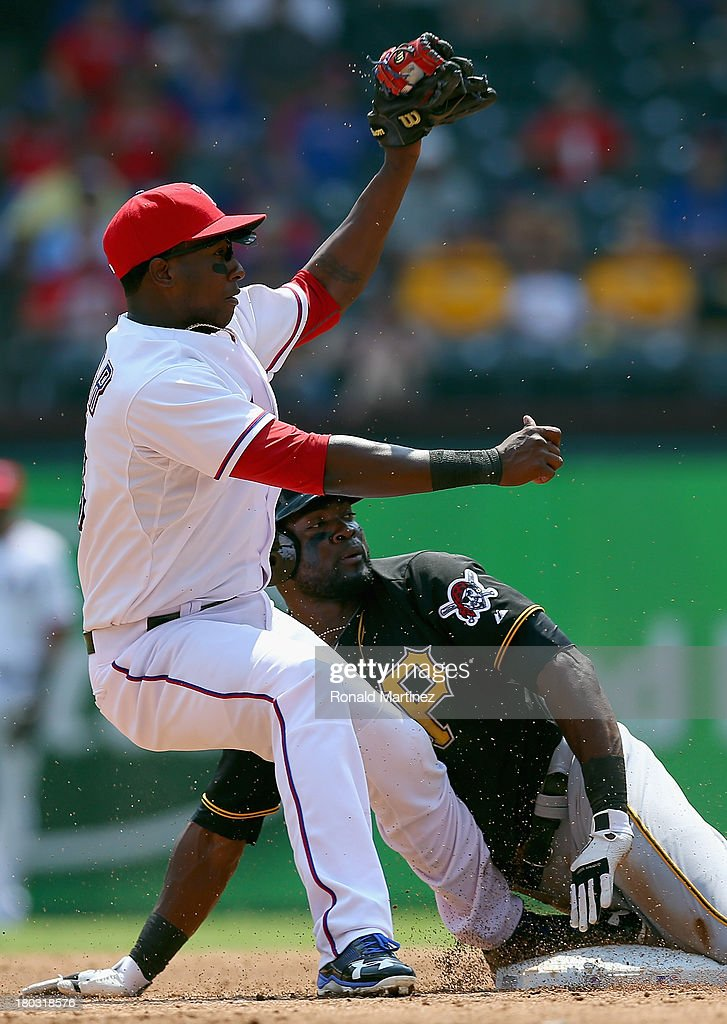 <a gi-track='captionPersonalityLinkClicked' href=/galleries/search?phrase=Felix+Pie&family=editorial&specificpeople=796554 ng-click='$event.stopPropagation()'>Felix Pie</a> #26 of the Pittsburgh Pirates steals second base against <a gi-track='captionPersonalityLinkClicked' href=/galleries/search?phrase=Jurickson+Profar&family=editorial&specificpeople=2253684 ng-click='$event.stopPropagation()'>Jurickson Profar</a> #13 of the Texas Rangers at Rangers Ballpark in Arlington on September 11, 2013 in Arlington, Texas.