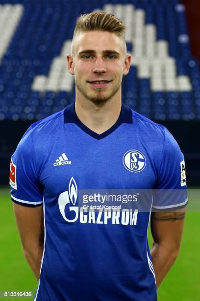 Felix Platte of FC Schalke 04 poses during the team presentation at Veltins Arena on July 12 2017 in Gelsenkirchen Germany