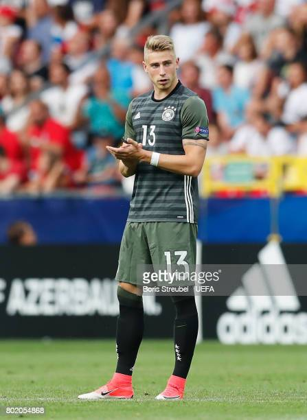 Felix Platte of Germany celebrates scoring his sides second goal during the UEFA European Under21 Championship Semi Final match between England and...