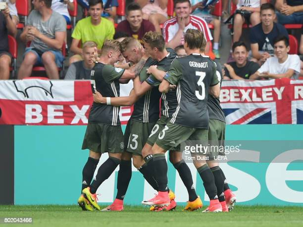 Felix Platte of Germany celebrates scoring his sides second goal with his Germany team mates during the UEFA European Under21 Championship Semi Final...