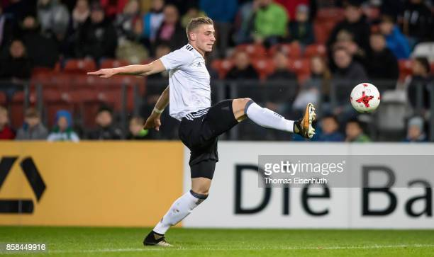 Felix Platte of Germany plays the ball during the UEFA Under21 Euro 2019 Qualifier match between U21 of Germany and U21 of Azerbaijan at Stadion der...