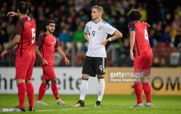 Felix Platte of Germany reacts during the UEFA Under21 Euro 2019 Qualifier match between U21 of Germany and U21 of Azerbaijan at Stadion der...