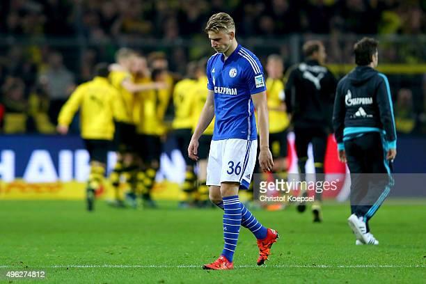 Felix Platte of Schalke looks dejected after the Bundesliga match between Borussia Dortmund and FC Schalke 04 at Signal Iduna Park on November 8 2015...