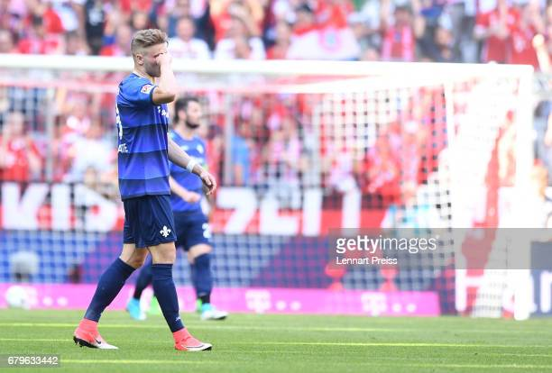 Felix Platte of SV Darmstadt reacts during the Bundesliga match between Bayern Muenchen and SV Darmstadt 98 at Allianz Arena on May 6 2017 in Munich...