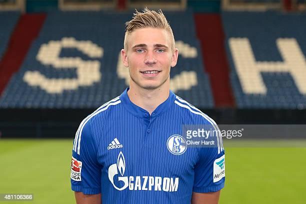 Felix Platte poses during the team presentation of FC Schalke 04 at VeltinsArena on July 17 2015 in Gelsenkirchen Germany