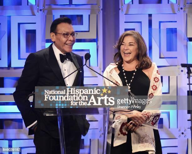 Felix Sanchez and Representative Loretta Sanchez onstage at the National Hispanic Foundation for the Arts 2017 Noche de Gala at The Mayflower Hotel...