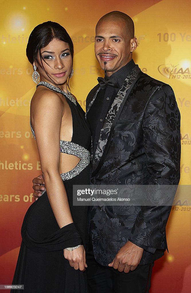 Felix Sanchez of Dominican Republic and his girlfriend attend the IAAF Centenary Gala at the Museo Nacional d'Art de Catalunya on November 24, 2012 in Barcelona, Spain.