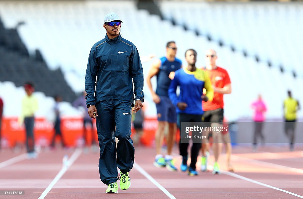 Felix Sanchez of the Dominican Republic takes part in training ahead of the Sainsbury's Anniversary Games - IAAF Diamond League at The Olympic Stadium on July 25, 2013 in London, England.