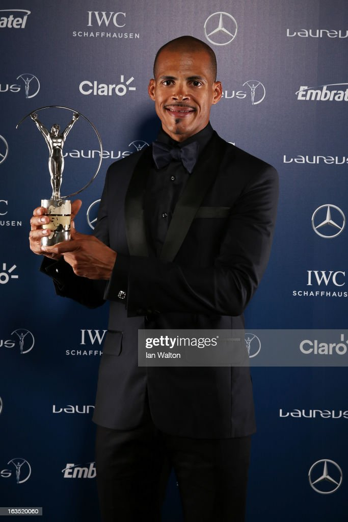 Felix Sanchez poses with the award for Laureus World Comeback of the Year in the winners studio during the 2013 Laureus World Sports Awards at Theatro Municipal do Rio de Janeiro on March 11, 2013 in Rio de Janeiro, Brazil.