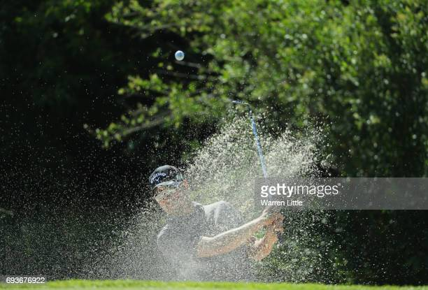 Felix Schulz of Austria plays from a bunker on the 14th hole during day one of the Lyoness Open at Diamond Country Club on June 8 2017 in Atzenbrugg...