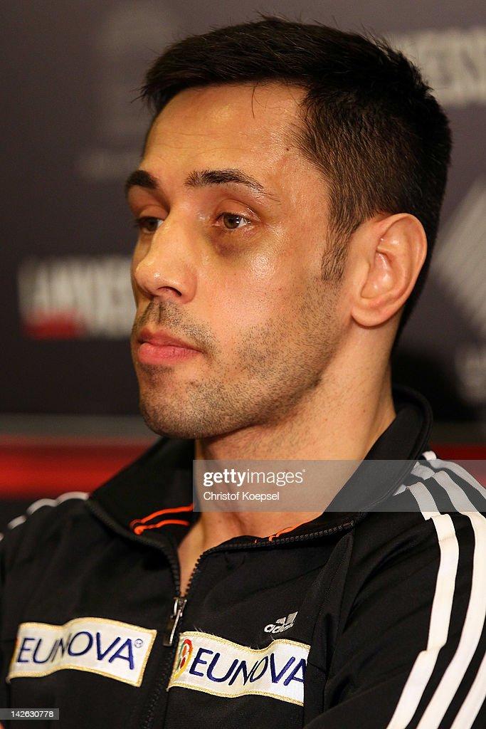 The WBA World Championship middleweight fight between Felix Sturm of Germany and Sebastian Zbik of Germany will ... - felix-sturm-attends-the-press-conference-at-hotel-im-wasserturm-on-picture-id142630778