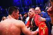 Felix Sturm of Germany congratulates winner Fedor Chudinov of Russia after their WBA super middle weight World Championship fight at Festhalle on May...