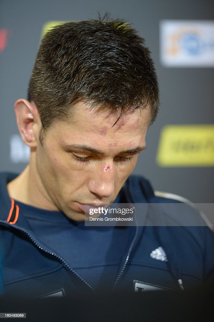 Felix Sturm of Germany reacts during a press conference after his IBF Middleweight Eliminator fight against Sam Soliman of Australia at ISS Dome on February 1, 2013 in Duesseldorf, Germany.