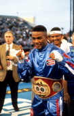 Felix Trinidad celebrates in the ring before the fight against Roger Turner at Caesars Palace in Las Vegas Nevada Felix Trinidad won the IBF...