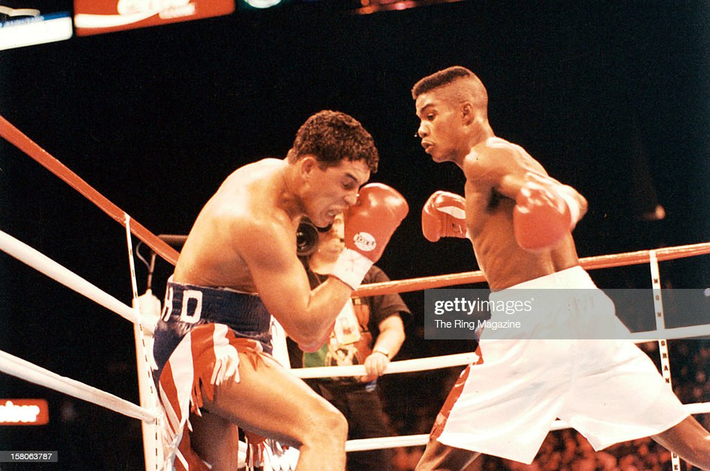 Felix Trinidad looks to land a left punch against Hector Camacho during the fight at the MGM Grand on January 291994 in Las Vegas Nevada Felix...