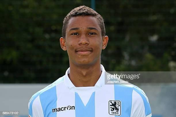 Felix Uduokhai poses during the official team presentation of TSV 1860 Muenchen at Trainingsgelaende on July 22 2016 in Munich Germany