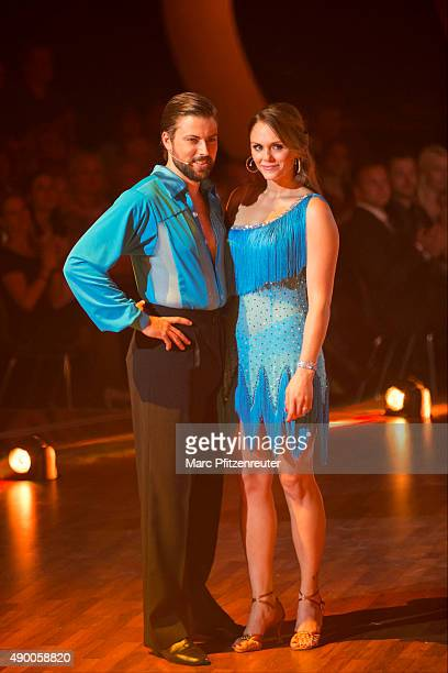 Felix von Jascheroff and Lisa Steiner attend the third show of the television competition 'Stepping Out' at the Coloneum on September 25 2015 in...