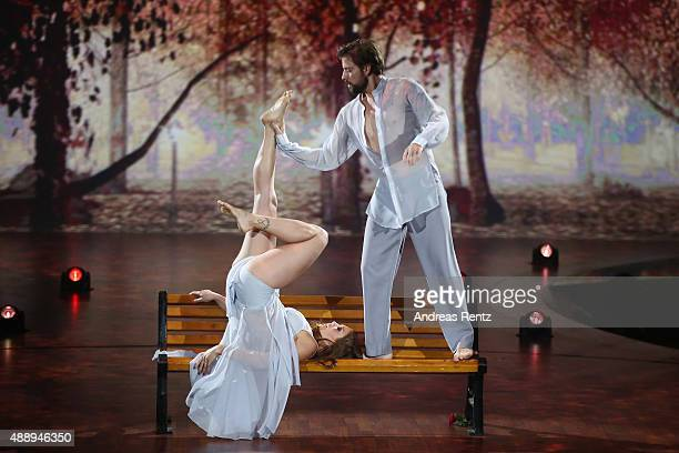 Felix von Jascheroff and Lisa Steiner perform during the second show of the television competition 'Stepping Out' on September 18 2015 in Cologne...