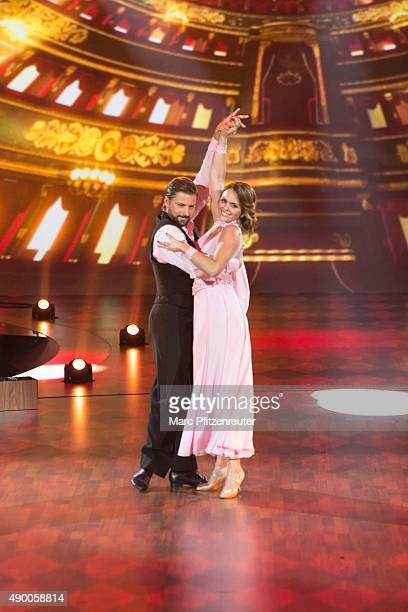 Felix von Jascheroff and Lisa Steiner perform onstage during the third show of the television competition 'Stepping Out' at the Coloneum on September...