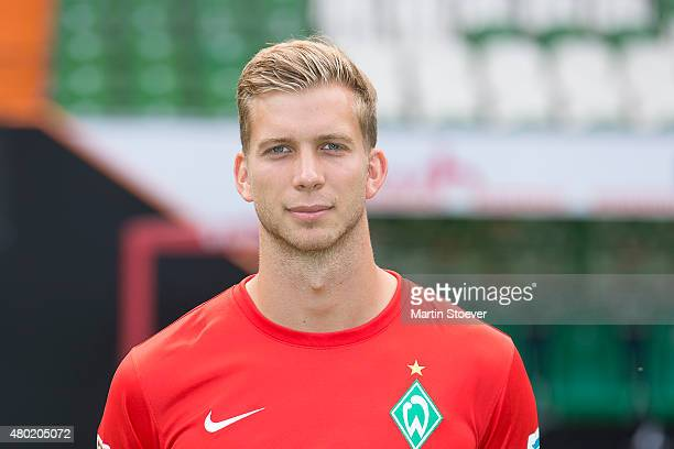 Felix Wiedwald poses during the official team presentation of Werder Bremen at Weserstadion on July 10 2015 in Bremen Germany