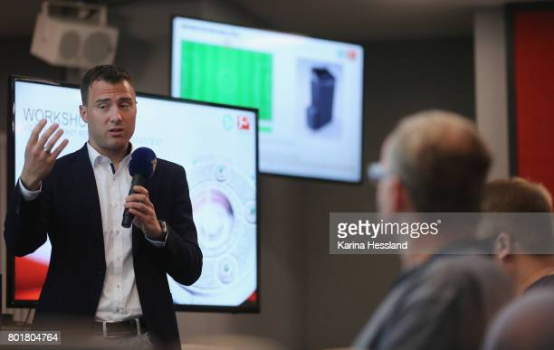 Felix Zwayer explains during the DFB Video Referee Media Workshop at Red Bull Arena on June 27 2017 in Leipzig Germany