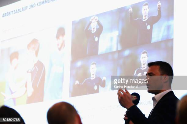 Felix Zwayer explains situations during the DFB Video Referee Media Workshop at Red Bull Arena on June 27 2017 in Leipzig Germany