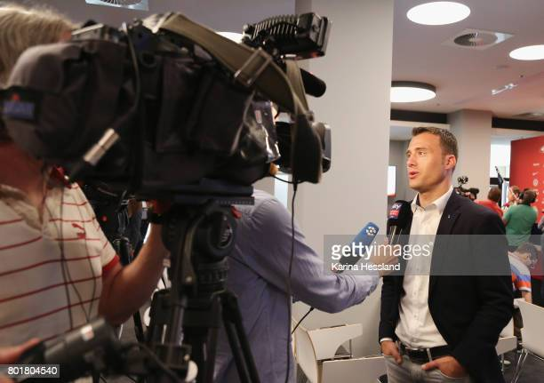 Felix Zwayer in interview during the DFB Video Referee Media Workshop at Red Bull Arena on June 27 2017 in Leipzig Germany