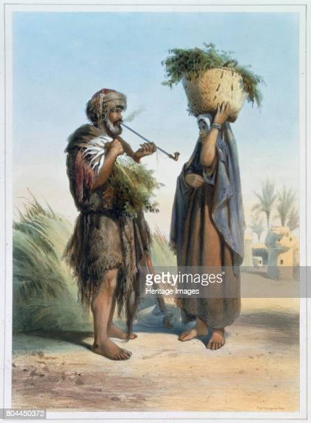 Fellah man and woman 1848 A fellah is a peasant farmer or agricultural labourer in Egypt and the Middle East Illustration from The Valley of the Nile...