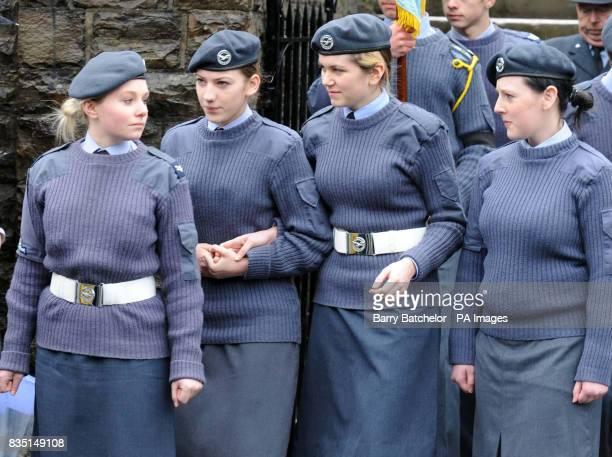 Fellow squadron members at the funeral service of Nikkita Walters at St David's Church Tonyrefail