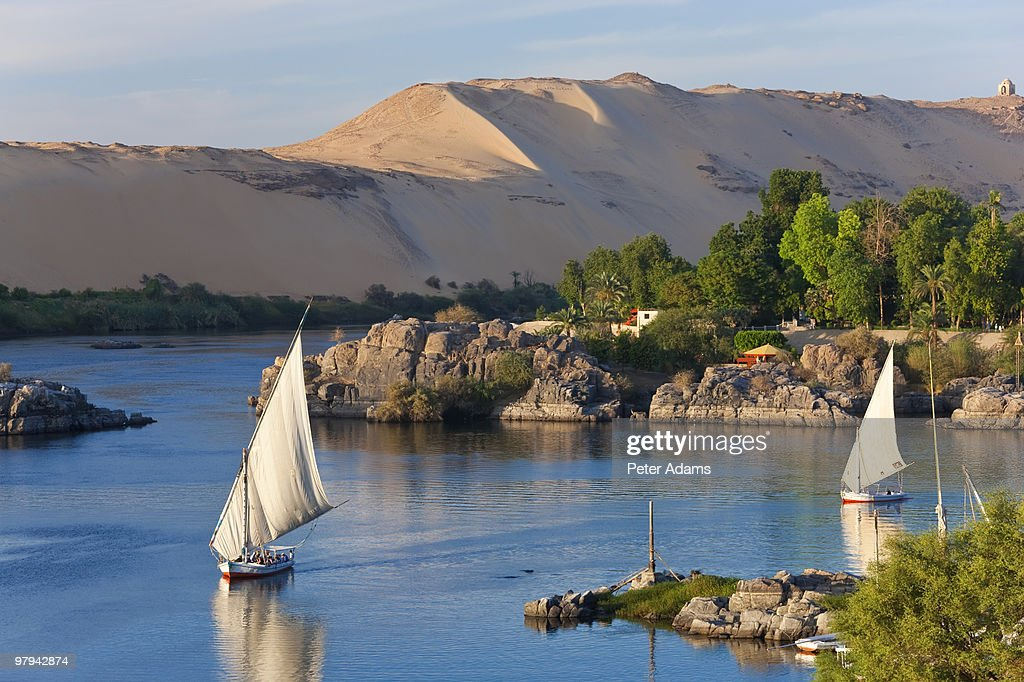 Felucca Sailboats on River Nile, Aswan, Egypt