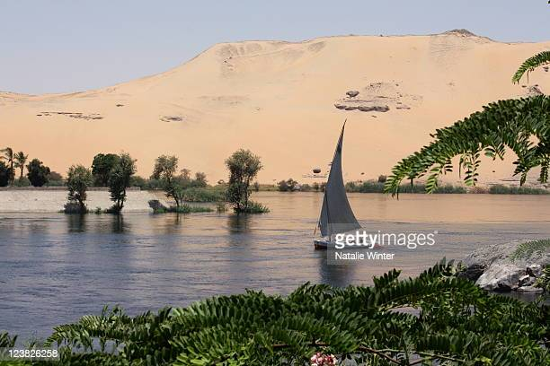 Felucca sails on Nile River, Aswan, Egypt